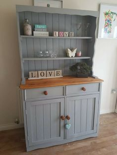 A solid Pine Welsh Dresser with tons of storage and a host of country chic design features. Grab yourself a top quality, professionally refurbished dresser at a steal before it goes! Dresser Bar, Pine Dresser, Kitchen Dresser, Dresser Ideas, Painted Bedroom Furniture, Pine Furniture, Upcycled Furniture, Furniture Makeover, Refurbished Dressers
