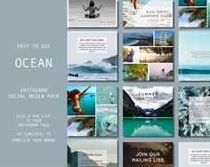 TEMPLATES: Instagram Templates, Ocean, summer template Social Media Marketing DIY Designs, Premade Photoshop Templates. PSD. Social Media Template, Social Media Design, Texture Web, Instagram Marketing Tips, Design Typography, Photoshop, Business Illustration, Spring Is Here, Illustrations