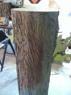 Making a tree for journey off the map. Used cardboard tube than mix 1/2 glue and 1/2 water. Then dip paper towels in the mixture and form the paper to look like bark. Then pant away.