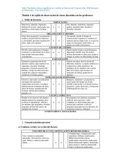 Rejillas de observación de clases de español