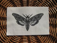 deaths head moth | Death's Head Skull Moth Original Drawing handmade screen printed patch ...