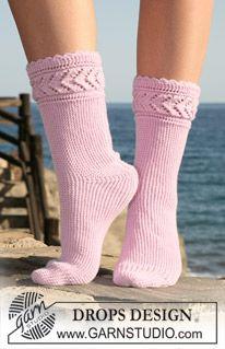 """Calcetas DROPS tejidas de lado a lado en """"Baby Merino"""". Números 35 – 42. ~ DROPS Design"""