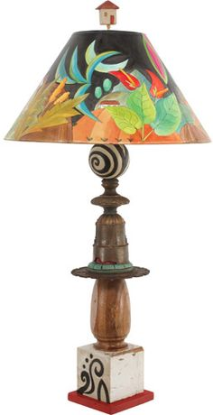.A little piece of this on top of a piece of that until it makes a wonderfully whimsical lamp.