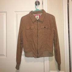 Corduroy Jacket Little brown/tan corduroy bomber jacket w/ soft fuzzy inside and silky sleeves (inside). Zip up! I LOVE H81 Jackets & Coats Utility Jackets