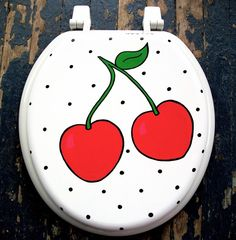 Sweet as Cherry Pie Toilet Seat Hand Painted by by DebbieIsAdopted, $50.00