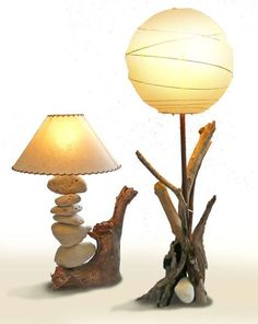 Fashion and Lifestyle Driftwood Lamp, Driftwood Crafts, Creation Deco, Rustic Lamps, Wooden Lamp, Unique Lighting, Oil Lamps, Lampshades, Lamp Light