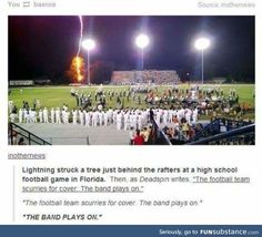 The band plays on! I know exactly where that is, what 2 bands are standing there, and when that happened.<-----this perfectly describes the difference between marching band & most sports/school activities. You keep playing the show no matter what Tumblr Posts, My Tumblr, Tumblr Funny, Band Tumblr, Memes Humor, Funny Memes, True Memes, Band Nerd, Band Puns