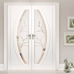 Gemini pvc french door pair with a beautiful twilight style glazing design and no more painting. - June 22 2019 at Door Design Interior, Main Door Design, Interior Design Elements, Front Door Design, Interior Barn Doors, Exterior Doors, Metal Walls, Metal Wall Art, Barn Door In House