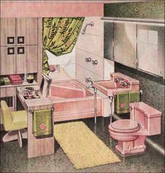 American Standard offered this great square corner bathtub through the 1950s. Used in a variety of interesting layouts, it's one of our all time favorite mid-century bathroom features. If you're lucky enough to have pink fixtures, here's a scheme to wow any lover of retro design.    I love the little dressing table.