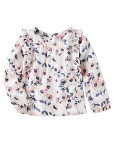 Baby Girl Ruffle-Sleeve Floral Top from OshKosh B'gosh. Shop clothing & accessories from a trusted name in kids, toddlers, and baby clothes.