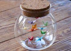 Origami Birds in a Bottle / Jar Origami Crane in Glass Bottle - Gift for Her - Wedding Favour. Origami Birds in a Bottle / Jar Origami Crane in Glass Bottle - Gift for Her - Wedding Favour - Origami Bird - Small Paper Bird Peace Crane , Origami Design, Diy Origami, Origami Wedding, Origami Ball, Origami Fish, Useful Origami, Origami Stars, Origami Tutorial, Origami Paper