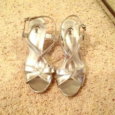 LAST CHANCE Shiny Silver Heels In great condition, have only been worn a couple of times and have no damage to them. FIONI Clothing Shoes Heels