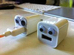 googly eyes + iPhone charger