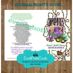 Set of 100 Quinceanera or Sweet 16 Program by EventPhotoCards Sweet 15 Invitations, Mardi Gras