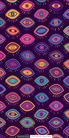 'Beholder' Seamless Pattern by Russfuss Eyes Wallpaper, Pattern Wallpaper, Wallpaper Backgrounds, Iphone Wallpaper, Evil Eye Art, Artsy Background, Eye Illustration, Eyes Artwork, Hippie Wallpaper
