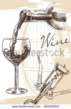 Hand drawn image of wine bottle with glass and corkscrew on background with cask - stock vector
