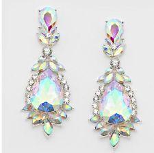 "2.75"" Long Silver Clear Aurora Borealis AB Austrian Crystal Pageant Earrings"