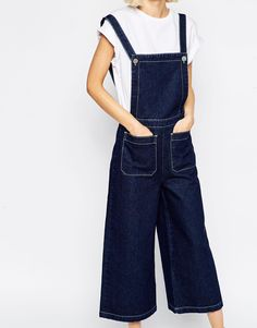 Image 3 ofASOS Denim Dungaree with Wide Leg and Contrast Stitching