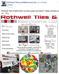 5th May 2016 - Rothwell Tiles & Bathrooms Ltd are 9 years old today!!! Happy birthday to us... #kettering #rothwell #bathrooms