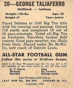 1948 Leaf #20a George Taliaferro Back