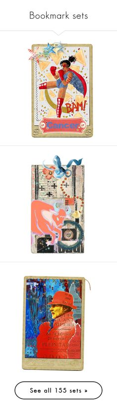 """""""Bookmark sets"""" by jennifertrimble ❤ liked on Polyvore featuring art, zodiac, bookmark, contestentry, artset, blueandorange, Blue, Horoscope, vintage and jungle"""