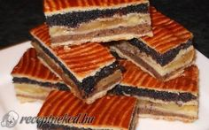 Flódni - walnit, poppyseed, and apple filling. Hungarian Recipes, Wonderful Recipe, Christmas Baking, Cookie Recipes, Sweet Tooth, Bakery, Good Food, Food And Drink, Favorite Recipes