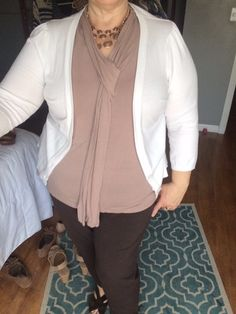 Ivory Cardigan, Taupe Blouse, Brown Slacks with Earth Brown Sandals