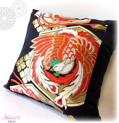 Vintage Japanese Kimono-OBI--pillow case, cushion cover, silk cushion,sofa bedding,embroidery gold,black,red--Made in Japan 009 by Hime21 on Etsy