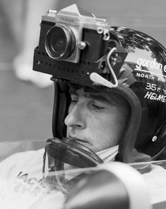 """WAY BEFORE GOPRO. Jackie """"Monaco GP Jackie Stewart driving for Matra was asked by a French photographer to take some images during practice with this Nikon attached to his helmet. Jackie Stewart, Bobbers, Helmet Camera, Yacht Cruises, Photo Vintage, Monaco Grand Prix, Vintage Cameras, Antique Cameras, Vintage Racing"""
