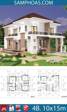 4 Bedroom Home Plan Full Exterior and Interior – SamPhoas Plan 4 Schlafzimmer Home Plan Full Exterieur und Interieur – SamPhoas Plan Duplex Floor Plans, Small House Floor Plans, My House Plans, Home Design Floor Plans, Architectural Design House Plans, Modern House Plans, 6 Bedroom House Plans, 4 Bedroom House Designs, Coastal House Plans