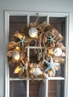 Burlap Wreath with Starfish and Sand Dollars