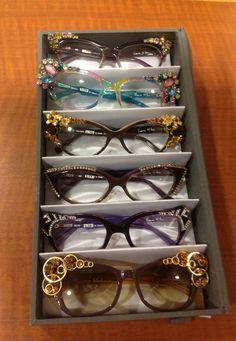 Brand new Parisian style! Diy Glasses, Glasses Frames, Fashion Eye Glasses, Denim Crafts, Glasses Online, Eyeglasses For Women, Reading Glasses, Parisian Style, Crystal Rhinestone