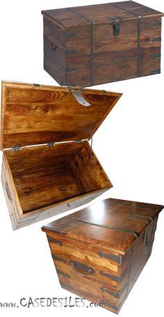 Coffre bois et Malle bois et cuir à Prix Imbattable : Coffre en bois massif colonial 915