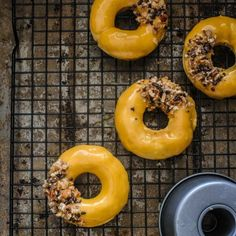 Caramelized White Chocolate Doughnuts with toasted pecans.