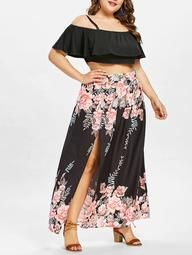 3ffc5a70b Plus Size Layered Crop Top With Floral Print Skirt