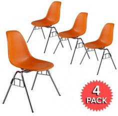 Set of 4 - DSS Plastic Stacking Side Chair  - Eames Reproduction - Orange - Matte