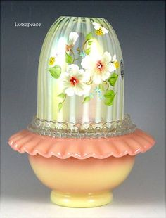 Fenton Fairy Light - Rib Topaz with Bumble Bees.