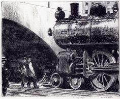 The Locomotive: 1923 by Edward Hopper - etching- (National Gallery of Art, Washington, DC) - American Realism