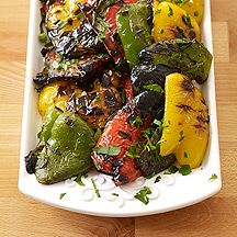 Italian Grilled Peppers great on burgers or antipasto with olives and cheese. wine vinegar and oil s+p, parsley, minced garlic, opt fennel- cooking spray