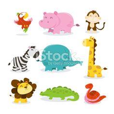 A cartoon vector illustration of nine various cute african jungle animals like parrot, hippopotamus, monkey, zebra, elephant, giraffe, lion,...