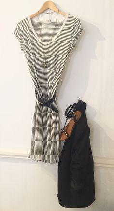 InWear striped t-shirt £44.95. InWear striped pencil skirt £54.95 Tutt&Co necklace £74.95