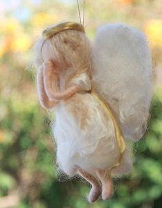Needle Felted Waldorf Christmas Angel Tree by heartfeltpassion, $25.00 Felt Christmas Ornaments, Angel Ornaments, Christmas Angels, Christmas Crafts, Christmas Tree, Needle Felted Ornaments, Felt Angel, Felt Crafts Patterns, Felt Fairy