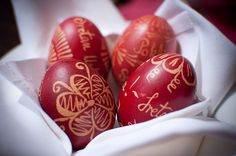 Pisanice are decorated Croatian Easter eggs that comes from an old Slavic custom dating back to pagan times. During Easter, eggs would be painted with bright colors, and would be given as gifts, especially to young children or a significant other. Before paint became common, villagers would have to use whatever resources they had available around them to make the dyes and paints themselves. The most common color for eggs was red, due to the abundance of red beets and other vegetables.