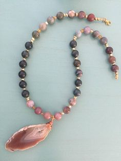 Natural Fancy Jasper and Pyrite Beaded Necklace with wire