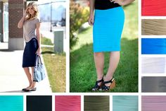 We are absolutely in love with these super stretchy, super flattering skirts! The scrunchiness is great at camouflaging any little imperfections and the stretch ensures a great fit! There are so many ways you can style these skirts: add your favorite tee, blouse, jacket, blazer, cardigan, etc. and a great pair of shoes and you're ready to go! Add one to your wardrobe at pickyourplum.com!