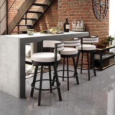 Tie together your bar or kitchen design with Amisco Browser swivel metal counter stools. These geometric swivel bar stools create a contemporary look and add functionality to a counter top or Metal Counter Stools, Metal Stool, Kitchen Stools, Swivel Bar Stools, Counter Top, Kitchen Seating, Kitchen Bar Counter, Brass Kitchen, Wood Counter