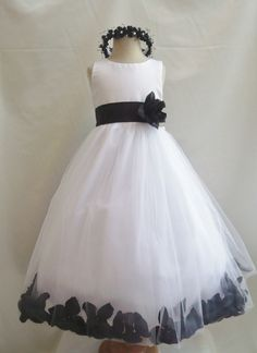 Flower Girl Dress WHITE w/ Black PETAL Wedding Children Easter Bridesmaid Communion Black Yellow Turquoise White Silver Red Cherry Red Apple...