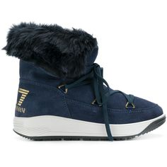 Ea7 Emporio Armani Snow Boots ($288) ❤ liked on Polyvore featuring shoes, boots, suede leather shoes, suede snow boots, blue suede shoes, blue shoes and suede leather boots