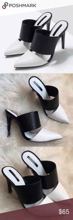 """Zara Black & White Pointed Toe Mules-Euro 40 New in box, excellent condition, however small mark on part of toe area at seam (shown in last pic) hardly noticeable. Black and white colorblock mules. Faux leather material. Pointed toe.  Heel height approx 4 1/4"""" ❌NO TRADES OR PAYPAL❌ Zara Shoes Mules & Clogs"""