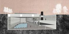 Arquivo: Cortes Perspectivados,Primer Lugar en concurso de piscina municipal Juan Pablo II / Santiago, Chile